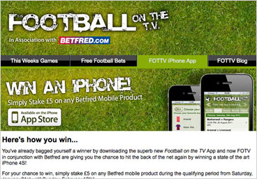 Email Design: Football on the TV