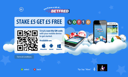 XBox Landing page for Betfred Lotto. The design had to fit within standard Microsoft guidelines